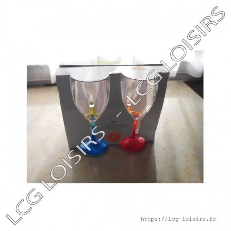 Lot 4 verres à pieds colorés